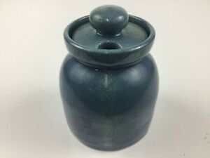 Bybee-Pottery-Jam-Jelly-Condiment-Pot-Jar-Container-Blue-Green-Speckled-Glaze