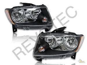 2011 2013 jeep grand cherokee black housing halogen headlights lamps rh lh. Black Bedroom Furniture Sets. Home Design Ideas