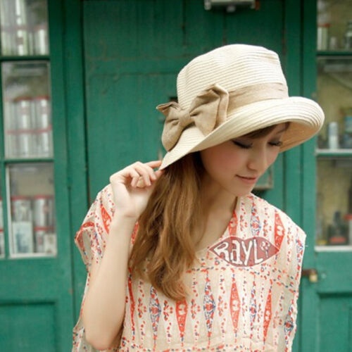 Bow style Floppy Folding Brimmed Summer Beach Hat Women`s Straw Sun Cap 2 colors