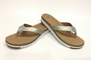 f26dcd915fa Details about UGG LORRIE METALLIC FLIP-FLOP SANDALS SILVER LEATHER -WOMEN'S  US SIZE 8 -NEW