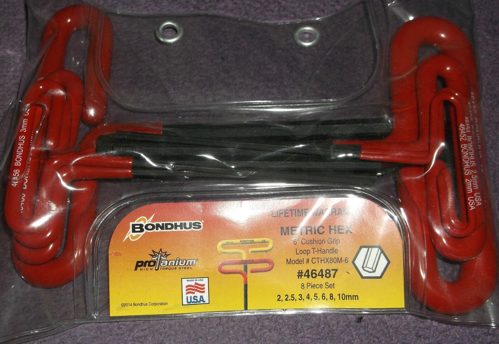 46487 Bondhus 6  Loop T Handle Cushion Grip 8 Piece Hex Key Allen Set