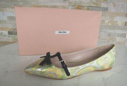 Forme Miu Soie Uvp Gr 36 Chaussures Nouvelle € 450 Mocassins Ballerines Jade rx8gXOrw