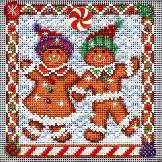 "Mill Hill Buttons & Beads Cross Stitch Kit 5"" x 5"" ~ GINGER FRIENDS #14-4301"