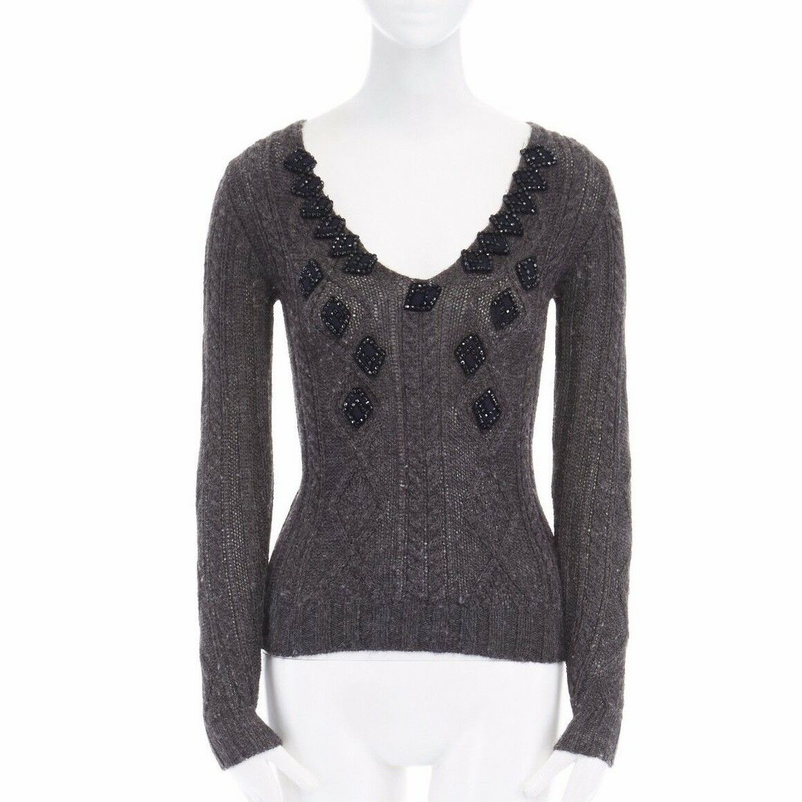 PRADA dark grey alpaca wool cable knit beaded patch embellished sweater top IT38