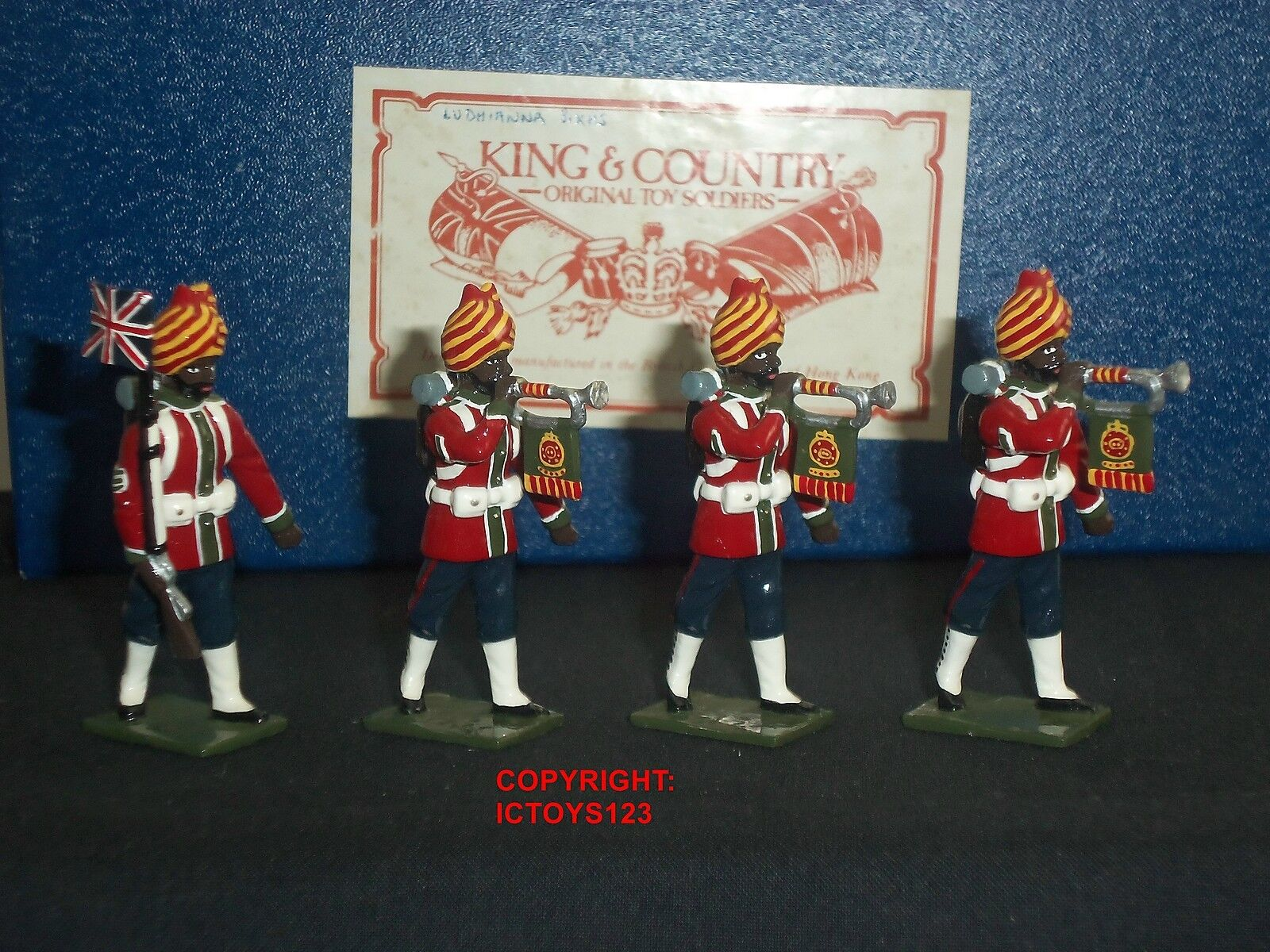 KING AND COUNTRY INDIAN ARMY LUDHIANA SIKHS TRUMPETERS TOY SOLDIER FIGURE SET