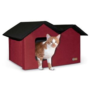 KH-Mfg-EXTRA-WIDE-2-Exit-Outdoor-Multiple-Cat-Pet-House-Unheated-Red-Black