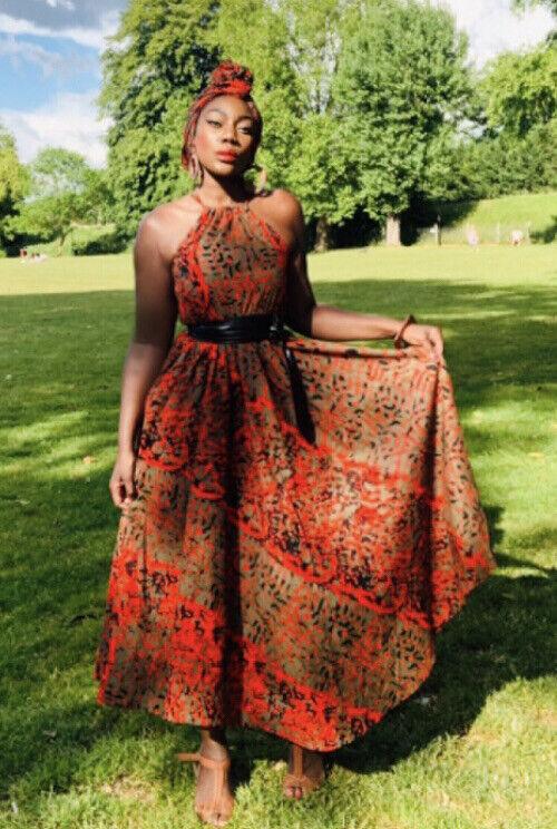 Ankara African Wax Print Camouflage Maxi Dress With Pockets❤️UK 12-18 🇬🇭🇬🇧