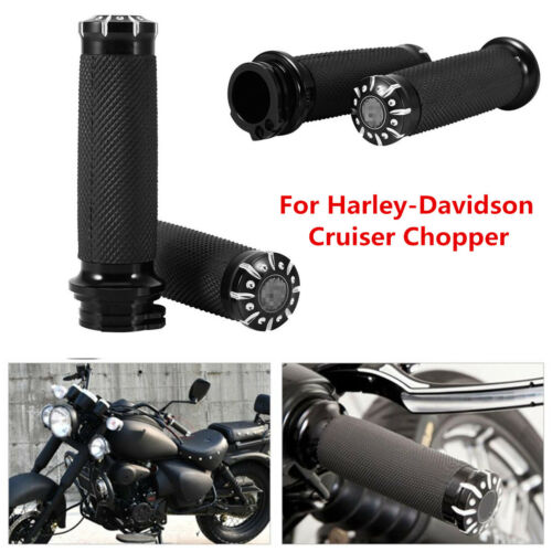 "2x Universal 1/"" CNC Motorcycle Handle Bar Hand Grips For Cruiser Chopper"