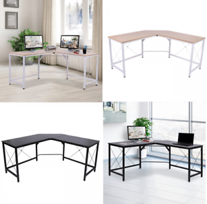 Details about LShaped Computer PC Desk Large Corner Study Metal Table Home  Office Workstation
