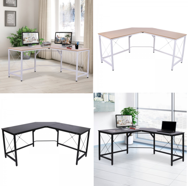 Lshaped Computer Pc Desk Large Corner Study Metal Table Home Office Workstation
