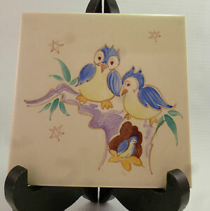 a-Vintage-Packard-amp-Ord-Hand-Painted-Tile-Thynne-Blank-Blue-Tit