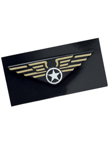 Pilot Wings Pin Badge Aviation Captain 1980s 80s Fancy Dress Accessory New