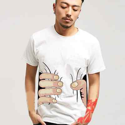 Unique Mens Big Hand Printed Funny Catch You Cotton Short Sleeve T-shirts Tops