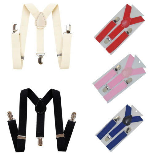 Colorful Toddler Clip-on Suspenders Elastic Adjustable Braces Kids Children