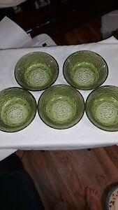 Set-of-5-Anchor-Hocking-Avocado-Green-Soreno-Glass-Cereal-Bowls-6-034