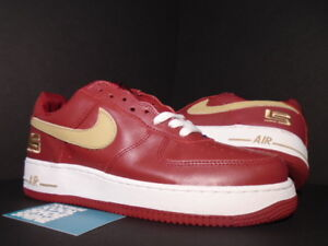 Details about NIKE AIR FORCE 1 LEBRON JAMES CRIMSON RED GOLD WHITE BLUE AKRON 306353 671 9.5