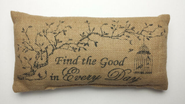 """FIND the GOOD in EVERY DAY 12"""" x 6"""" Stenciled Burlap Pillow Sign (Complete)"""