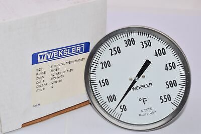 Industrial Bimetal Thermometer 5 Face x 6 Stem 50-500 w//Calibration Dial