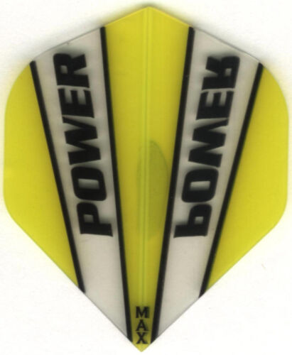 3 per set Yellow /& Clear POWER MAX Dart Flights 150 Microns Thick
