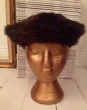 VINTAGE Brown Faux Fur Beret- Hat- Bohohemian- Boho- Hippy- Sienna- Kate