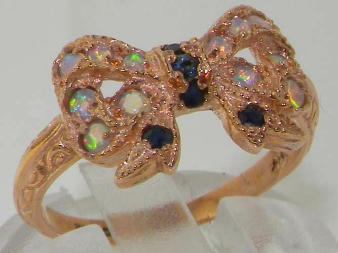 Luxury 9ct pink gold Ladies Sapphire & Fiery Opal Vintage Style Bow Ring