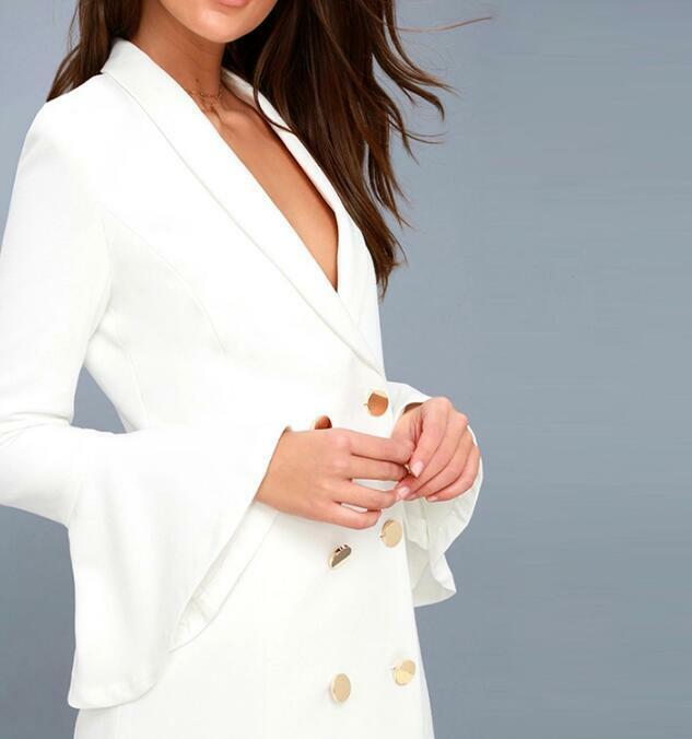 Womens Double Breasted Coats OL Blazers Formal Coats Business White White White Slim Dress 41fde7