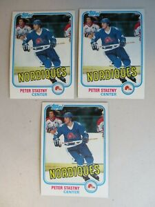 Three 1981-82 Topps Hockey  'Peter Stastny' card #39 -  Quebec Nordiques Rookie
