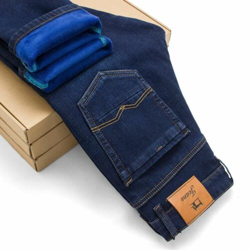 Mens Winter Warm Flannel Lined Stretch Denim Jeans Slim Fit Trousers Pants
