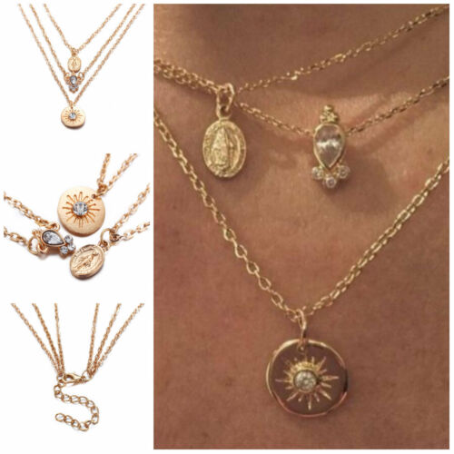 Multilayer Boho Statement Charm 3Layer Charm Gold Plated Virgin Mary Necklace