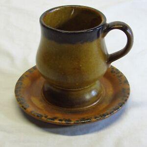 Vintage McCoy Pottery Brown Canyon Mesa Curvy Cup & Saucer Set 1412 USA