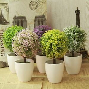 Outdoor Home Decor Artificial Topiary Tree Potted Ball Plants