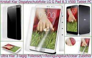 2x Cristallino Pellicola Di Protezione Del Display LG G Pad 8.3 V500 Scheda