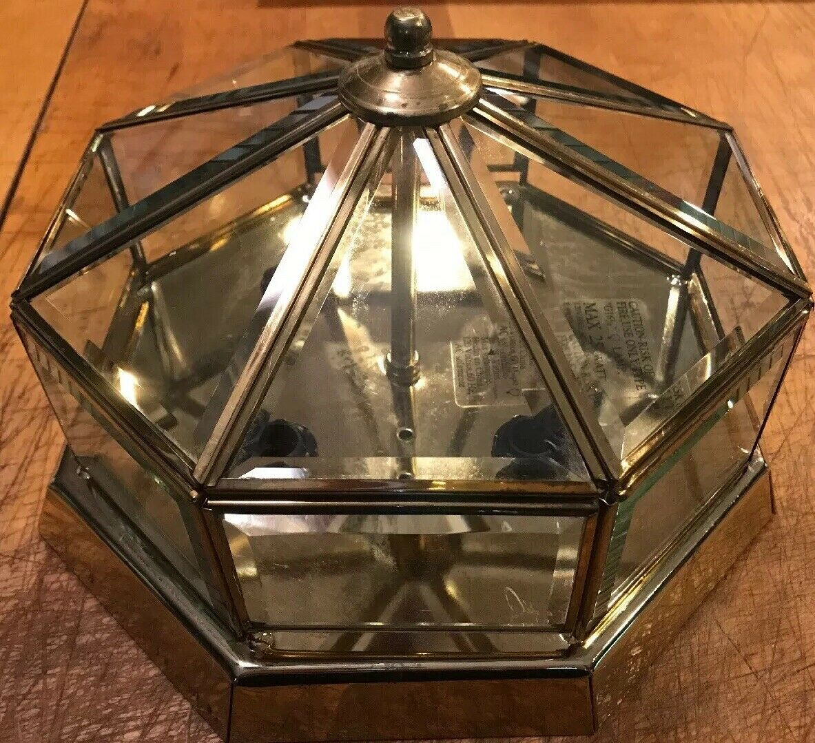 Polished Brass Beveled Glass Octagon Transitional Flush Mount Light Fixture 11 For Sale Online