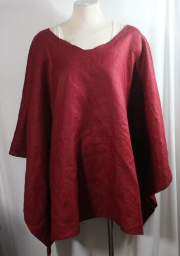 Plus size poncho style top//tunic,beautiful burgundy linen size1X-2X 3X-4X