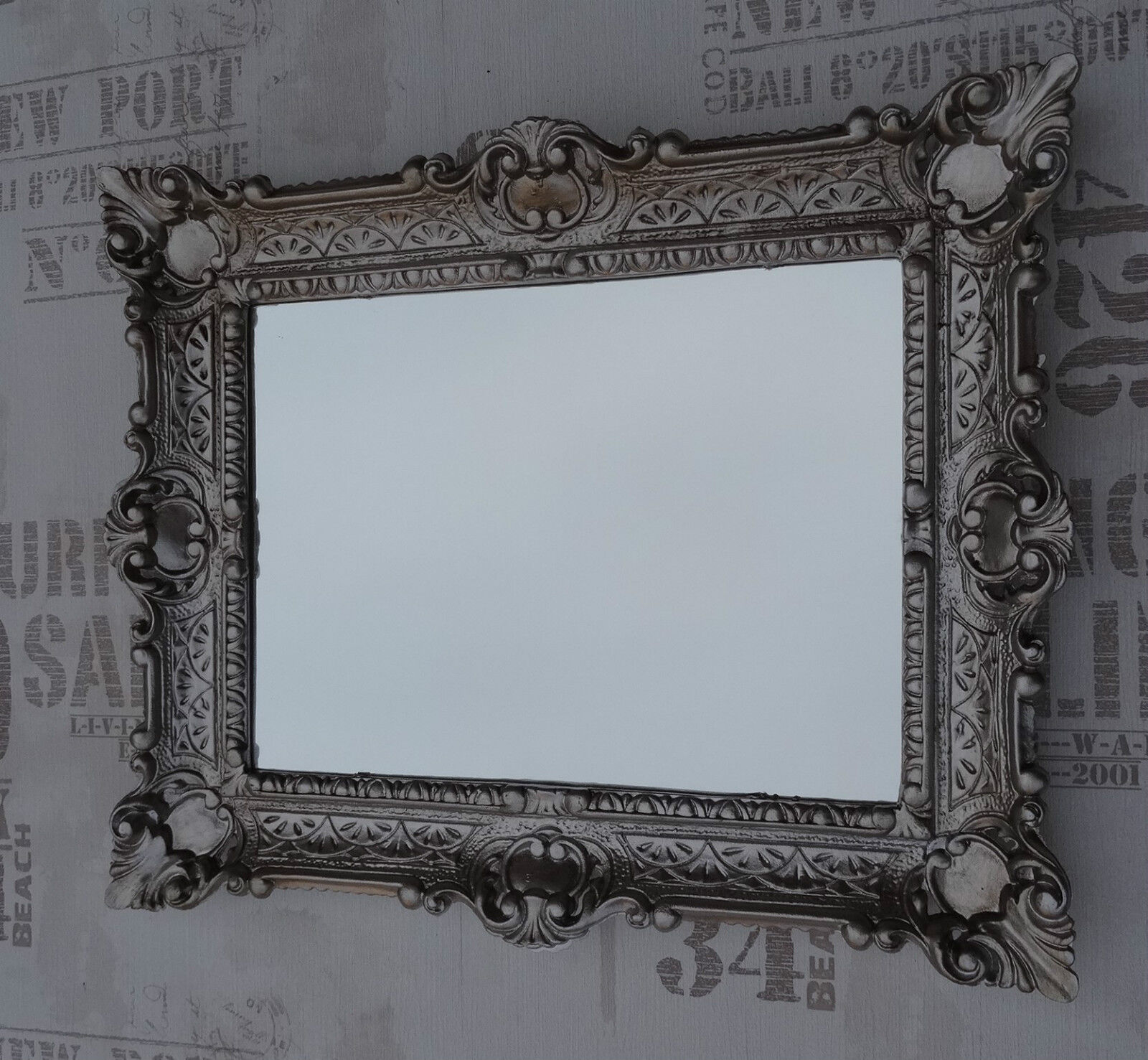 Wall mirror antique silver bathroom vanity 56x46 baroque for Baroque bathroom mirror