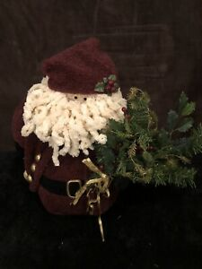 Plush Santa Claus with weighted body, maroon suit and tree