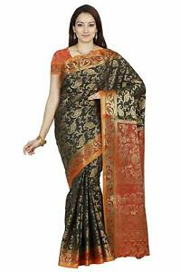Details About Black Art Silk Indian Pakistani Ethnic Wedding Designer Saree Sari
