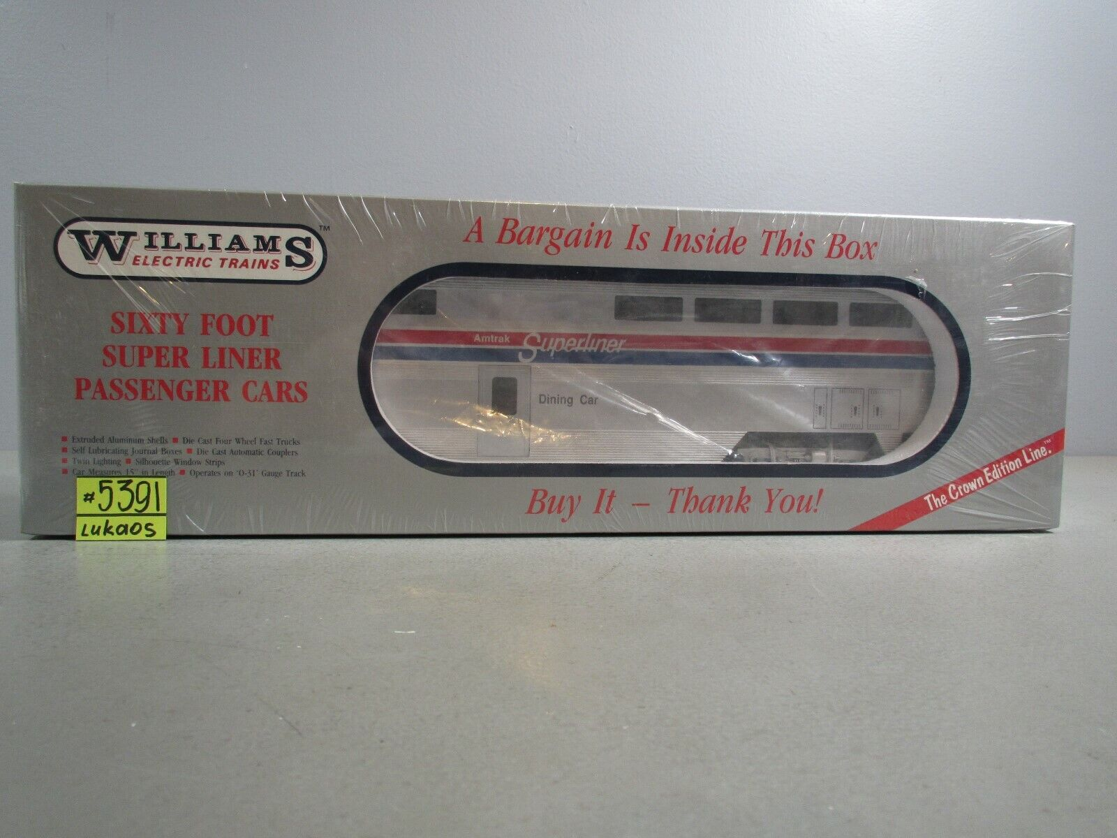 WILLIAMS 600 FOOT SUPERLINERS DINER CAR AMTRAK SEALED IN BOX NEW