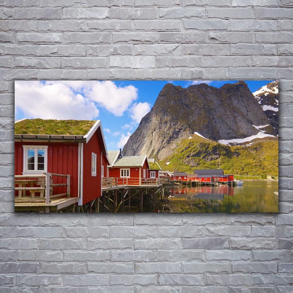 Impression sur verre Wall Art 120x60 Photo Image maisons lac montagnes paysage