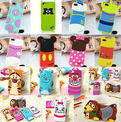 Cute 3D Cartoon Lovely Silicone Shell Soft Back Case Cover For iPhone 4S 5 5S