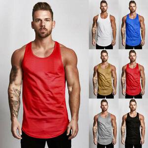 1bf212dc0a257 Men s Simple Sleeveless Tank Top T-Shirt Bodybuilding Sport Fitness ...