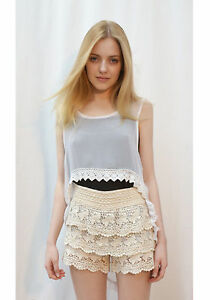 19faf319ab584e crop top with dip hem crochet lace trim around hem white chiffon vest ...