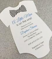 20 Baby Boy With Striped Bow Tie Onesie Baby Shower Invitation