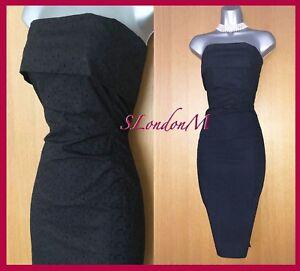 KAREN-MILLEN-12-UK-Black-Broderie-Anglaise-Strapless-Cocktail-Ascot-Race-Dress