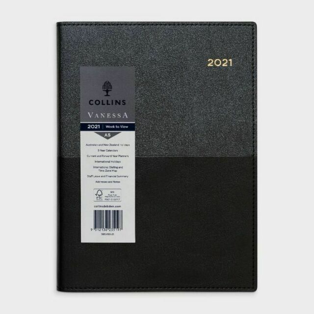 Collins A5 Week To Open 2021 Vanessa Diary - Black