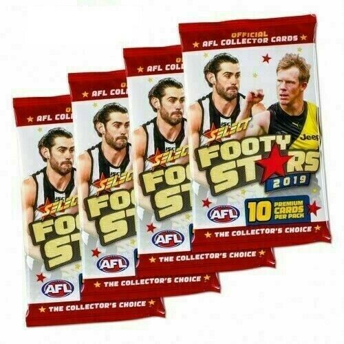 6 x 2019 AFL SELECT FOOTY STARS SEALED PACKS 100 TRADING CARDS RANDOM PICKED