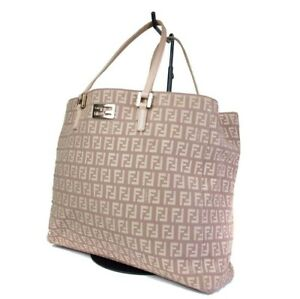 d3f256bb8 Image is loading Authentic-FENDI-Zucca-Canvas-Leather-Beige-Hand-Bag-