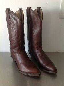 6830cb9dd8e Details about J Chisholm Men's Brown Leather Western Cowboy Boots Vintage  Handcrafted 6.5D