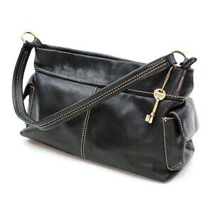 Image Is Loading Vintage Fossil Black Leather Bag Tote Shoulder Top