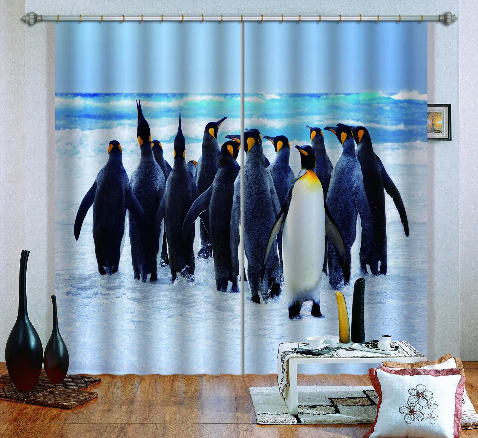 3d Artico PINGUINO 5 blocco foto sipario pressione sipario tende tessuto finestra de